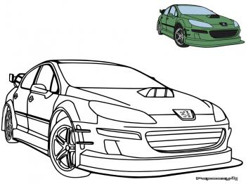 coloriage peugeot 407 tuning catégorie voitures papoozy fr